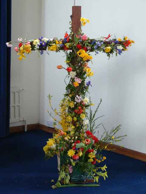 An Easter Cross decorated by the congregation on Easter Day