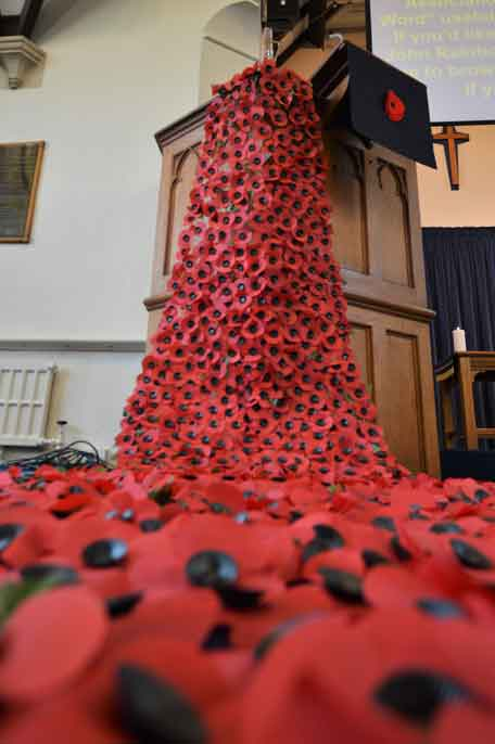 A waterfall of poppies created by the Boy`s Brigade